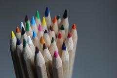 Closeup of pencil crayon tips stock photo