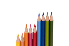 Closeup Pencils in a chart. Rainbow of colored pencils aligned in a chart Stock Photos