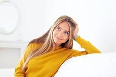 Closeup of pensive young woman stock photography