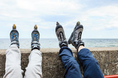 Closeup of people friends with roller skates. Stock Image