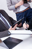 Closeup of people holding clipboards Royalty Free Stock Image