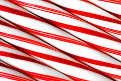 Closeup of peppermint candy canes side by side. Royalty Free Stock Photos