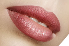 Closeup perfect natural lip makeup. Beautiful plump full lips on female face. Clean skin, fresh make-up. Spa tender lips. Close-up perfect natural lip makeup stock photos