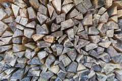 Closeup of perfect pile of chopped wood stored for winter stock photography