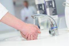 Closeup person washing hands Royalty Free Stock Image