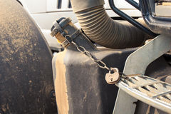 closeup petrol tank of tractor with pad-lock Royalty Free Stock Image