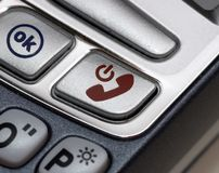 Closeup of a phone. A close-up shot of the ok and cancel buttons on a mobile phone royalty free stock photography