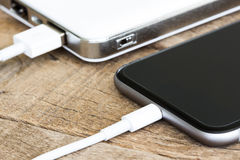 Free Closeup Phone Charging White Power Bank Portable Stock Photography - 60969552