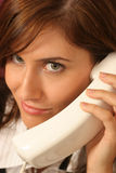 Closeup phone conversation. Close up of her phone conversation Royalty Free Stock Images