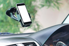 Closeup phone mounted in car Stock Images