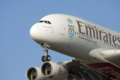 Closeup photo of a Airbus A380 Royalty Free Stock Photography