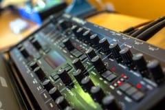 Closeup photo of an audio mixer Stock Photo