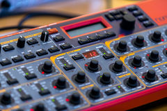 Closeup photo of an audio mixer Stock Photos