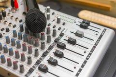 Closeup photo of an audio mixer Royalty Free Stock Image