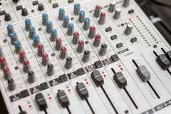 Closeup photo of an audio mixer Stock Photo