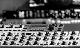 Closeup photo of an audio mixer Stock Images