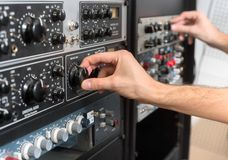 Closeup photo of an audio mixer Royalty Free Stock Photo