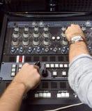 Closeup photo of an audio mixer Royalty Free Stock Photo