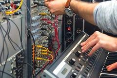 Closeup photo of an audio mixer Stock Image