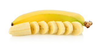 Closeup photo of banana with pieces on white background Royalty Free Stock Image