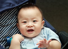 Closeup photo of beautiful cute asian baby expression Royalty Free Stock Photo