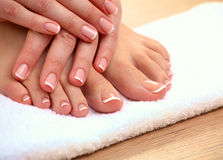 Closeup photo of a beautiful female feet with pedicure royalty free stock photography