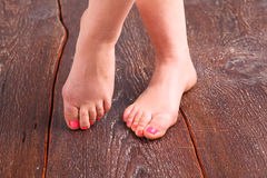 Closeup photo of a beautiful female feet with pedicure.  Stock Photography