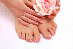 Closeup photo of a beautiful female feet with pedicure.  Royalty Free Stock Photo