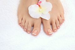 Closeup photo of a beautiful female feet with pedicure.  Stock Photos