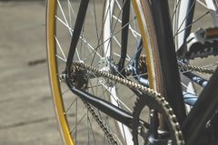 Closeup Photo of Bicycle Sprocket and Bicycle Chain Royalty Free Stock Images