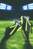 Closeup photo of a black soccer boot. On a soccer field in a stadium stock images