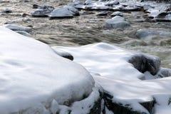 Closeup Photo Black Stone With Snows Stock Image