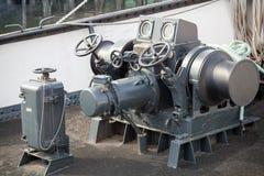 Closeup photo of bow anchor winch Royalty Free Stock Photo