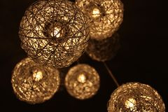 Closeup Photo of Brown Round Twig Pendant Lamps Stock Photography