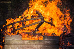 Closeup photo of burning wooden constructions Royalty Free Stock Images