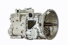 Closeup photo of bus gearbox, with isolated background.  Stock Photography