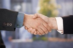 Closeup photo of business handshake Stock Images