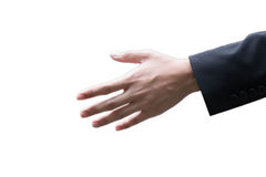 Closeup photo businessman hand reach out to check Royalty Free Stock Photo