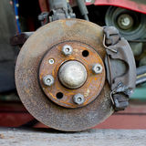 Closeup photo of car disc brakes servicing Stock Photography