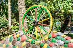 Closeup photo of cart wheel royalty free stock photography