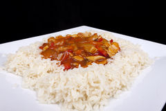 Sweet and sour chicken with rice. Royalty Free Stock Image