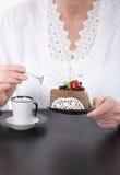 Closeup photo of coffee and cake Stock Photo