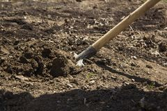Digging the soil. A closeup photo of digging the soil with a shovel royalty free stock photos
