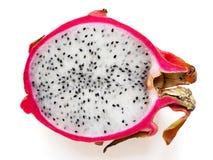 Fresh Cut of Dragon Fruit on White Background. Closeup photo of Dragon fruit cut on the white background Stock Image