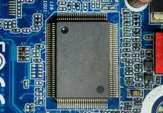 Electronic chip computer:integrated circuits on motherboard stock photography