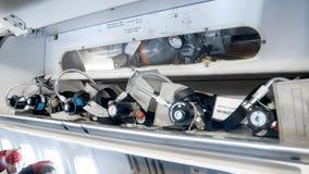 Closeup image of emergency oxygen sustem on jet airplane. Closeup photo of emergency oxygen sustem on jet airplane royalty free stock photography