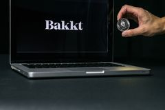 Ethereum coin with the Bakkt logo on a laptop screen, Slovenia - December 23th, 2018 stock image