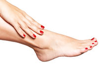 Closeup photo of a female feet with beautiful red pedicure Royalty Free Stock Photos