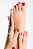 Closeup photo of a female feet with beautiful red pedicure Royalty Free Stock Photo