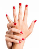 Closeup photo of a female hands with red nails Stock Photos